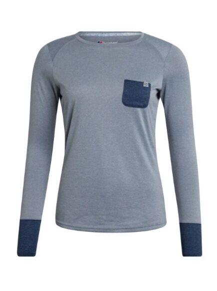 Berghaus Women's Explorer Tech Long Sleeve Tee Grey/Dark Blue
