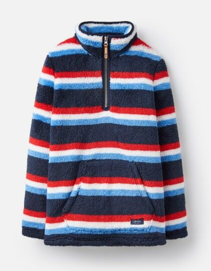 Joules Boys Woozle Half Zip Fleece Navy & Red Stripe