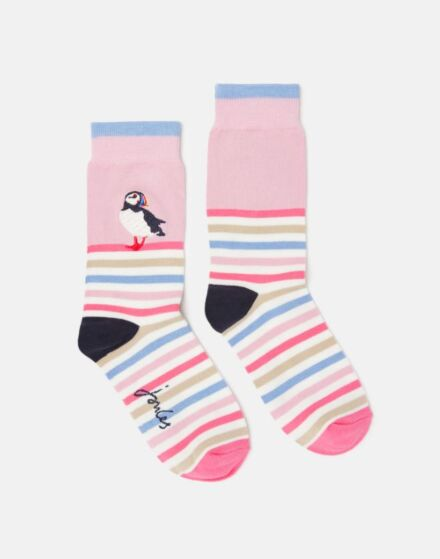 Joules Brilliant Bamboo Embroidered Socks Puffin Stripe
