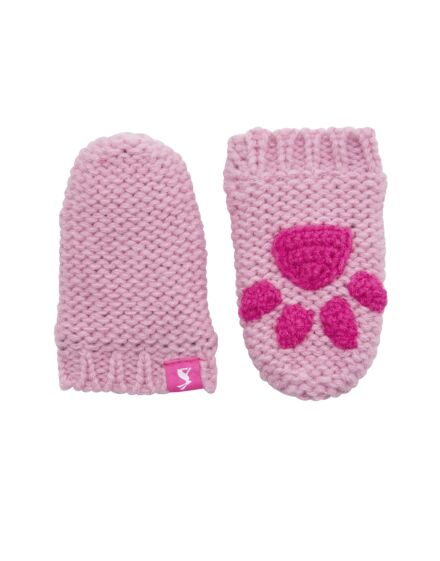 Joules Baby Paws Knitted Mittens Dusk Pink