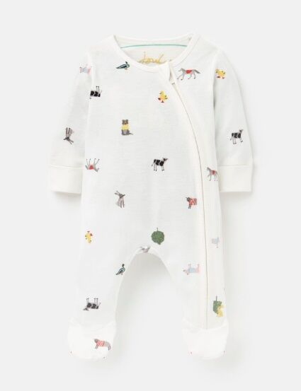 Joules Zipped Babygrow White Farm Print