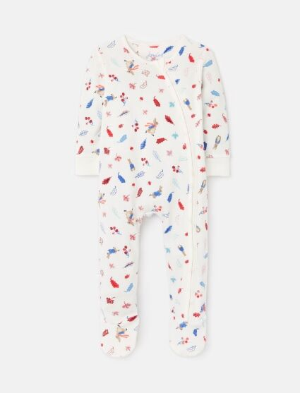 Joules Peter Rabbit Zippy Babygrow White Leaves