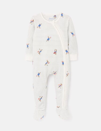 Joules Peter Rabbit Zippy Babygrow Grey Stripe Peter