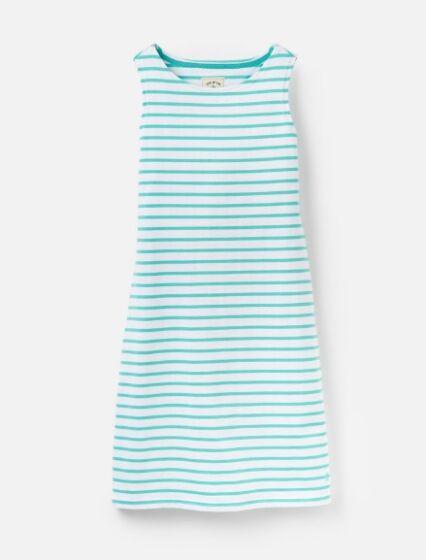 Joules Riva Sleeveless Jersey Dress Turquoise White Stripe