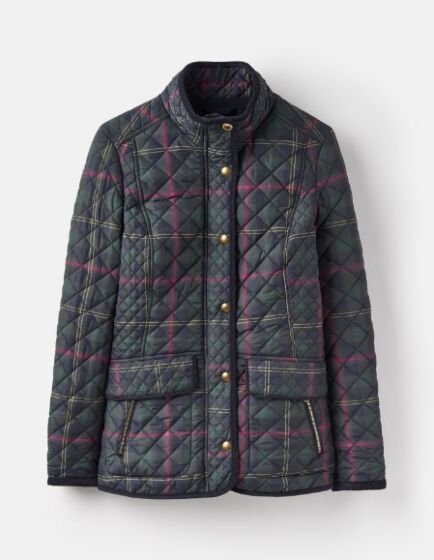Joules Newdale Printed Quilted Coat Navy Clockwatch Check