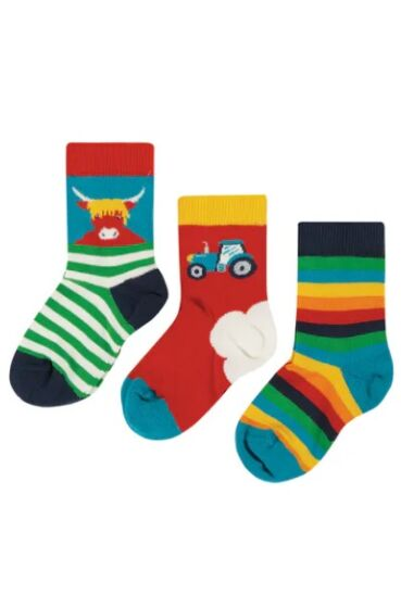Frugi Little Socks 3 Pack Tractor Multipack