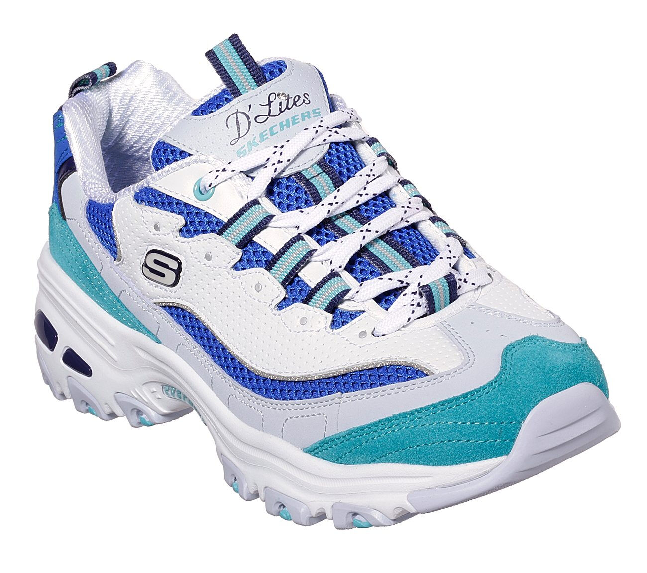 white and blue skechers