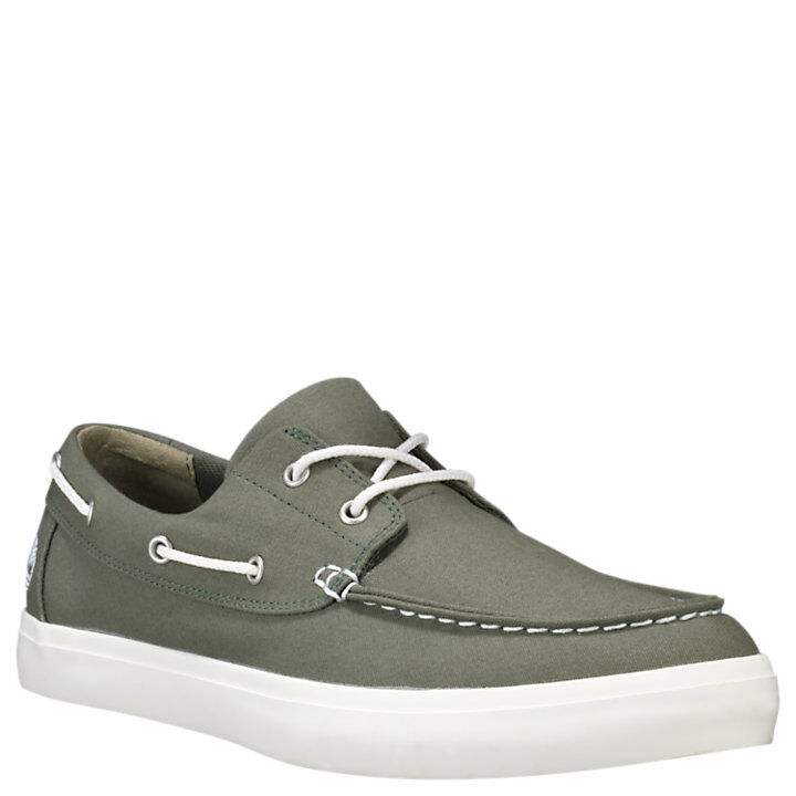 vistazo Puntuación Baya  Timberland Union Wharf 2 Eye Boat Shoe Green Canvas | Griggs