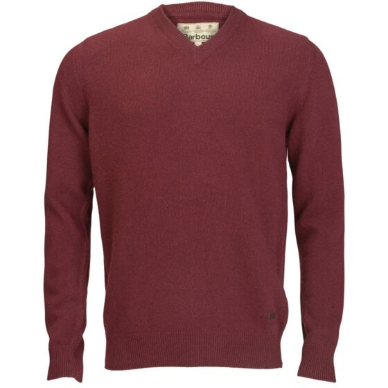 Barbour Nelson Essential V-Neck Jumper Merlot