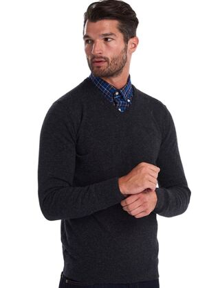 Barbour Essential Lambswool V-Neck Jumper Charcoal