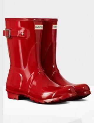 Hunter Women's Original Gloss Short Boot Military Red
