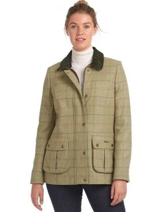 Barbour Marlow Wool Jacket Green Pink Check