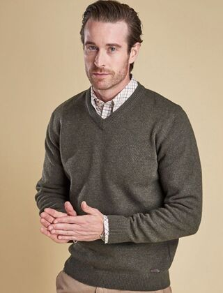 Barbour Nelson Essential V-Neck Jumper Seaweed