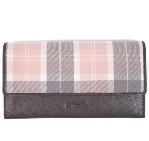 Barbour Leather Travel Organiser Grey/Pink Tartan