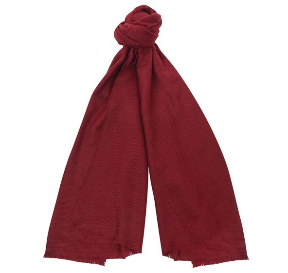 Barbour Waffle Textured Scarf Carmine Red