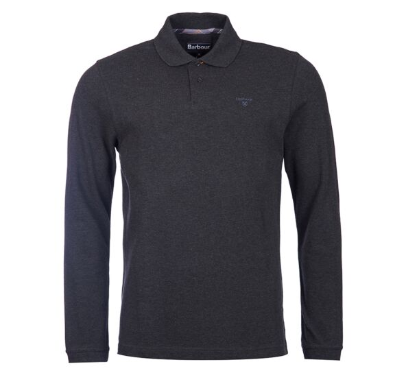Barbour Long Sleeve Sports Polo Top Dark Charcoal Marl