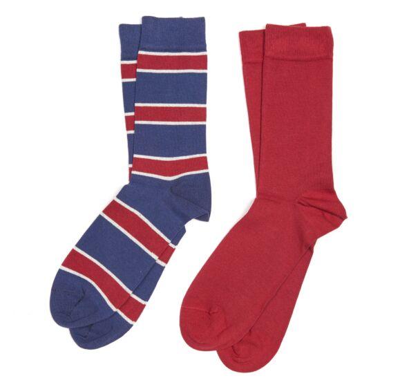 Barbour Hexham Socks Blue Stripe/Red
