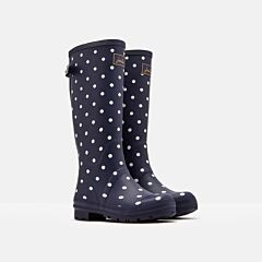 Joules Printed Wellies with Adjustable Back Gusset French Navy Spot