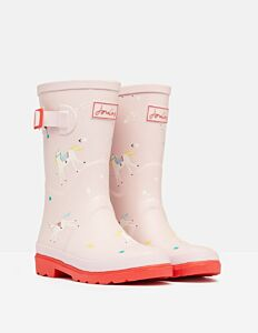 Joules JNR Printed Tall Wellies Pink Unicorn