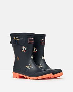 Joules Molly Mid Height Printed Wellies Navy Beach Dogs