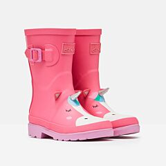 Joules Junior Printed Wellies Pink Silver Unicorn