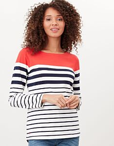 Joules Harbour Long Sleeve Jersey Top Cream Navy Red Stripe