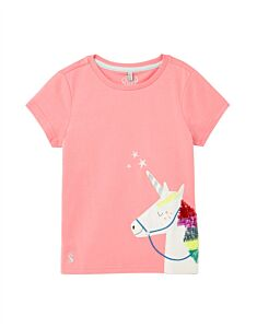 Joules Astra Artwork Top Pink Unicorn
