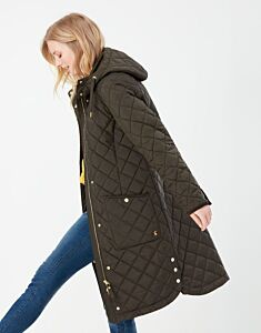 Joules Chatham Longline Quilted Coat Heritage Green