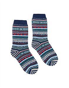 Joules Lucille Socks Navy Fairisle