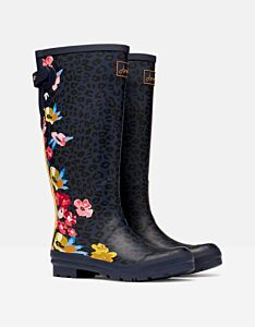 Joules Back Adjustable Printed Wellies Navy Floral Leopard