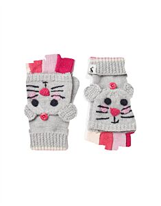Joules Chummy Character Converter Gloves Grey Mouse