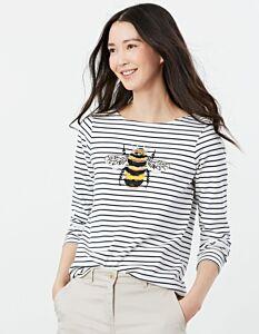 Joules Harbour Luxe Long Sleeve Jersey Top Bee Embellishment