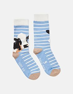Joules Brilliant Bamboo Embroidered Socks Blue Cow
