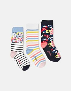 Joules Brilliant Bambo Embroidered 3PK Socks St Ives Floral