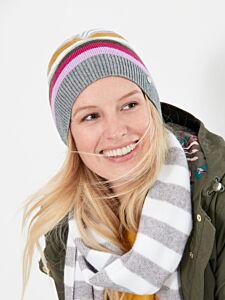 Joules Zelda Bawdy Stripe Hat Grey Stripe