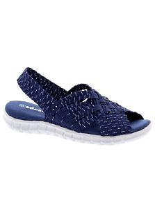 Adesso Sally Elasticated Sandals Navy/Silver