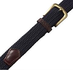 Barbour Stretch Webbing Leather Belt Navy