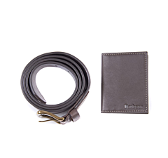 Barbour Leather Belt & Billfold Gift Set Dark Brown