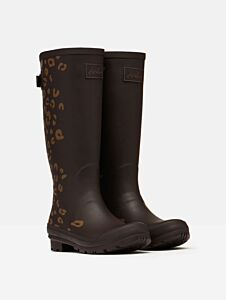 Joules Printed Wellies with Adjustable Back Gusset Brown Leopard