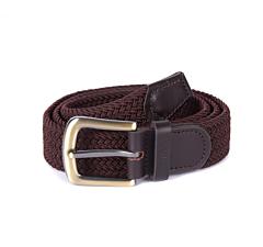 Barbour Stretch Webbing Leather Belt Dark Brown