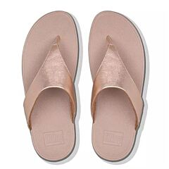 Fitflop Lulu Leather Toe-Post Sandals Rose Gold Shimmer