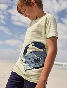 Joules Cullen Short Sleeve Sequin T-shirt Lime Crab