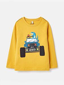 Joules Chomp Applique T-Shirt Yellow Dino Truck