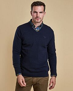 Barbour Essential Lambswool V-Neck Jumper Navy