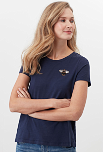 Joules Carley Print Classic Crew T-Shirt French Navy Bee