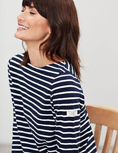Joules Harbour Light Swing Long Sleeve Top Navy Cream Stripe