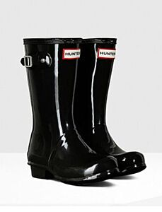 Hunter Kids Original Wellington Boots Gloss Black