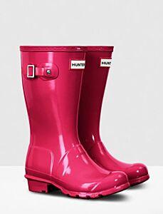 Hunter Kids Original Wellington Boots Gloss Bright Pink