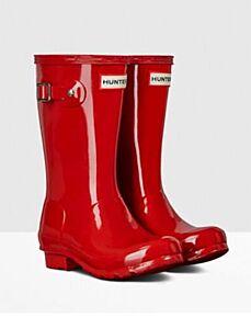 Hunter Kids Original Wellington Boots Gloss Red