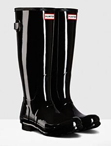 Hunter Women's Back Adjustable Gloss Boot Black